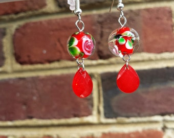 Handcrafted Rose Glass Bead and Red Teardrop Briolette Dangle Earrings, Handblown Rose Beads, Lampwork, Blown Glass Jewelry, Very Unique!