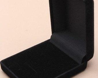 7 x New Black Flocked Velvet Jewellery Gift Boxes