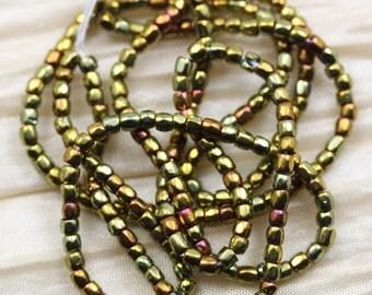 """Rare find! 9/0 3Cut Metallic Gold Iris Czech seed beads - 1 strand 18"""""""