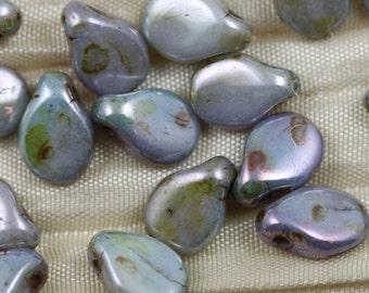 Pip beads! 50pcs 5X7mm Green Ultra Luster Picasso Pips Czech Glass Beads, flat drop beads, delicate flower petals...