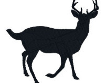 BUY 2, GET 1 FREE - (Deer Silhouette 4-01) Masculine Deer Buck Antlers Machine Embroidery Design in 3 Sizes - 4x4, 5x7, 6x10