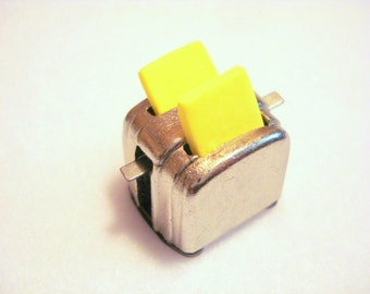 Dollhouse Kitchen Miniature Toaster with Two Pieces of Toast Embellishment Buttons 1/12 or 1/6 Dollhouse Supply