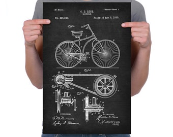 """Vintage 1890 """"Bicycle"""" Patent Drawing, Retro Art Print Poster, Canvas, Wall Art, Home Decor, Old Fashion Bike, Cycling, Gift Idea"""
