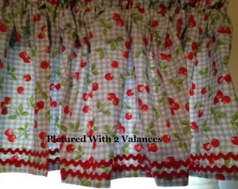 Vintage Style Kitchen Valance ~ Bright Cherries on Blue Gingham