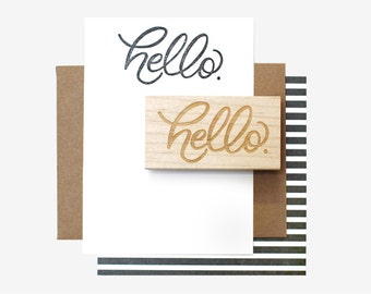Hello Hand Lettered Rubber Stamp