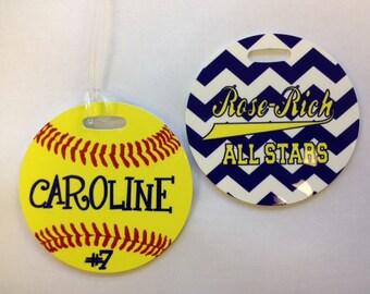 Custom Personalize Softball/Any Ball Bag Tag