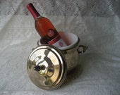 Vintage New Years Gift Silver ice bucket  Keep your wine Champagne cold built in plastic line, beautiful