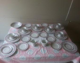 Antique Set of 34 Piece C. Mielow Poland Fine China Pink and Purple Flower Dish Set Beautiful!!