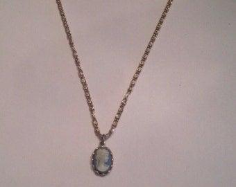 Vintage Avon Blue Cameo Necklace Choker Costume Jewelry