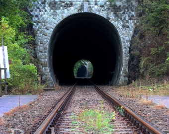 5ft.x7ft Railroad Tracks & Tunnel All in One Vinyl Photography Backdrop, Railroad Track Background, Train Backdrop