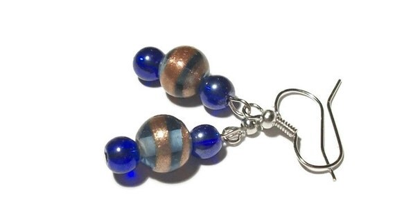 Colbalt Blue Lampwork Glass Bead Dangle Earrings, Lampwork Beads, Gift For Her, Blue Earrings, Valentines Day Gift, Blue and Gold Earrings