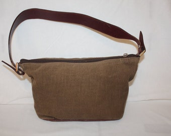 Brown Purse, corduroy with a reddish brown shoulder strap