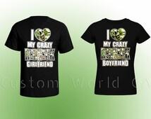"Couple Redneck T Shirt "" I love my Crazy Redneck Girlfriend "" - Couple Shirt - Redneck Shirt"