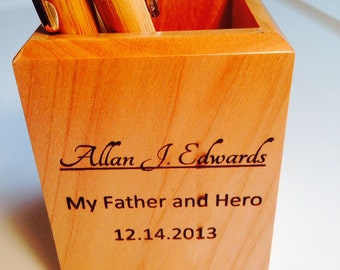 Engraved Pencil Holder.  Personalized maple with YOUR NAMES and info. Perfect Teacher, boss, friend, coach, wedding gift!