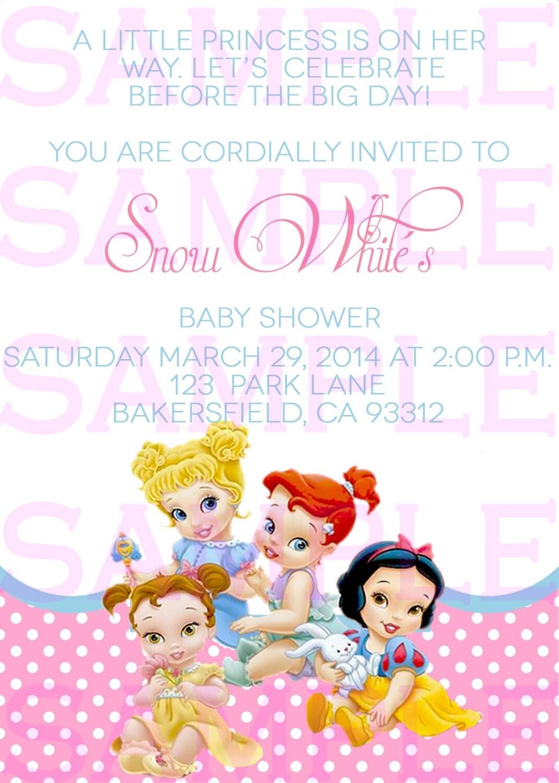 Disney Baby Shower Invitations Templates ~ Baby shower invitation princess disney babies girl