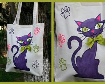 Cat Pattern-Handmade-Fabric Painting Tote Bag