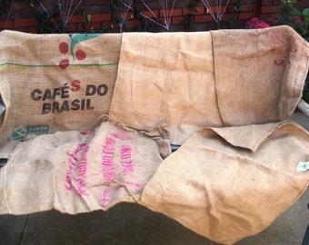 Set of 5 Vintage  Burlap Sacks, 5 Vintage   Burlap Bags, 5 Vintage Feed Sack.
