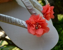 WHITE Bridal Flip Flops with coral chiffon flower, pearl & rhinestones, silver/grey satin ribbon- any colors available!