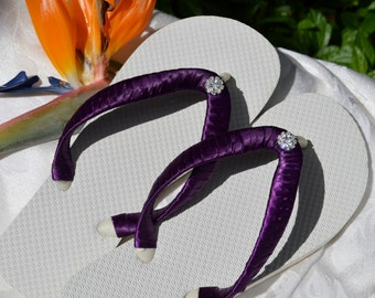 Bridal Party Wedding Flip Flops *PURPLE* white flats with rhinestone - purple, plum, eggplant, lavender, light purple