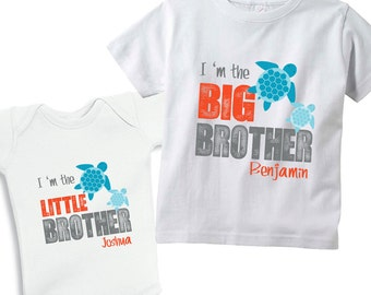 I'm the big Brother & I'm the Little Brother Sea Turtle set of 2 Shirts for boys or Baby Bodysuits