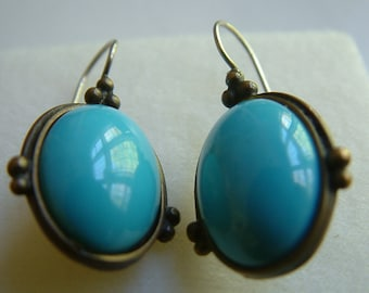 Beautiful Turquoise and Sterling Silver Dangle Earrings 90's