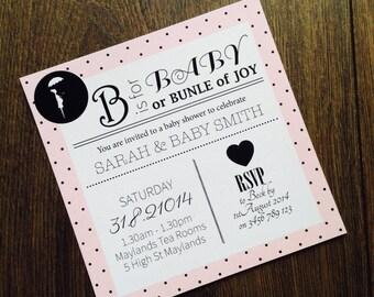 Custom Printable Baby Shower Invite - polka dot vintage design