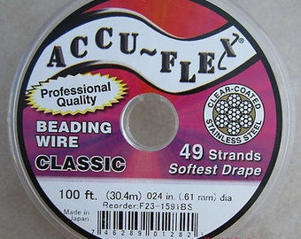 100' Accu-Flex clear coated steel beading jewelry wire 49 strand .024 inch