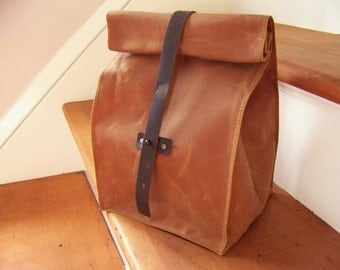 Cowboy Lunch Bag / Waxed Canvas / Made to Order