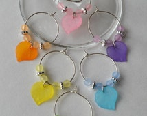 Leaf wine charms with acrylic beads and accents