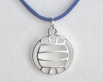 Volleyball necklace with silver metal pendant on nylon cord
