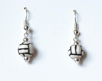 Volleyball earrings with ceramic white volleyball beads and silver plated metal findings