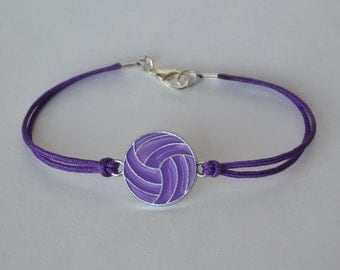Purple Volleyball bracelet with silver plated purple enamel volleyball charm on purple nylon cord