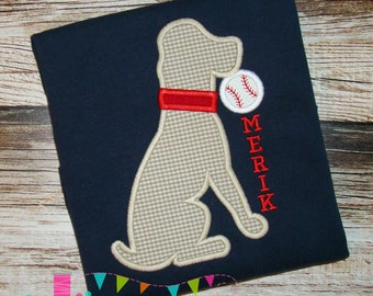 Baseball Dog Applique Design