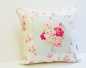 Shabby Chic Pillow Cover, Quilted Cushion Cover, Quilted Pillow, Slipper Rose by Tanya Whelan _Made To Order