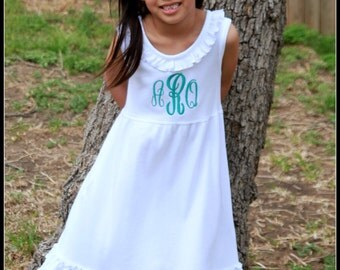 Monogrammed Girls Dress - White Dress - Beach Pictures