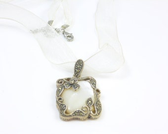 Marcasite Necklace, Mother of Pearl and Marcasite Pendant Necklace, Ribbon Chord Necklace