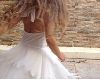 Flower girl- white flower Tinkerbell fairy dress