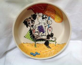 "Hand Painted Ceramic Pet Bowl - ""Beach Bums"""
