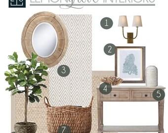 Custom Interior Design Services for Entry | Complete Design Package, E-Design, Mood Board, Entry Decor