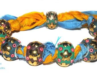 Bracelet sari silks and handmade beads kashmiri,boho,gipsy,hippie,bohemian,summer,sarisilk,tribal,gift,