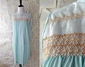60s Blue Sleeveless Nightgown Vintage 1960s Lingerie Sleepwear Medium Large