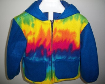 Size 3 childrens fleece jacket tye dye (306)