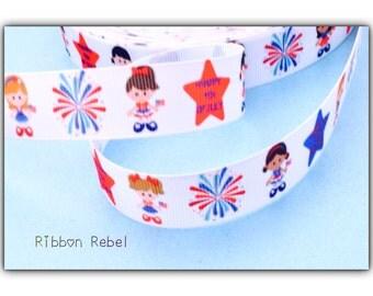 """Patriotic ribbon stars ribbon Fourth of july ribbon 4th of july ribbon Red white blue star patriotic ribbon 7/8"""" 3 yards"""