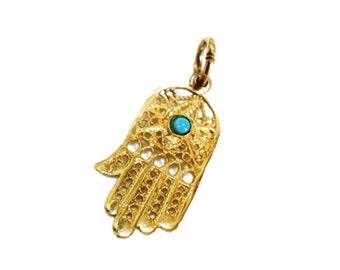 Filigree 14k Yellow Gold Turquoise Hamsa Pendant