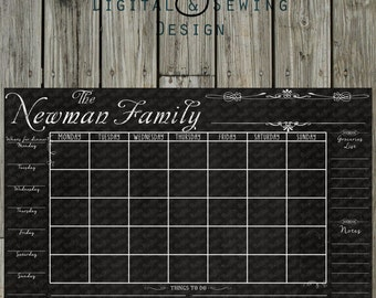 chalkboard calendar fully customizable printable digital file