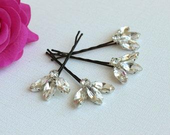Sale  Bridal Wedding Rhinestone hairpiece Set of 4 hair Pins  bridal accessories Rhinestone crystal bobby pin