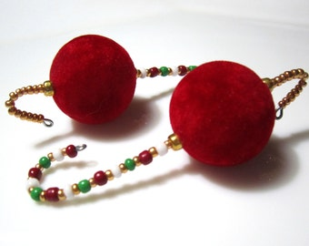 6 Huge Red Velvet Bead Fully Beaded Ornament Hangers with red, white, gold and green accents