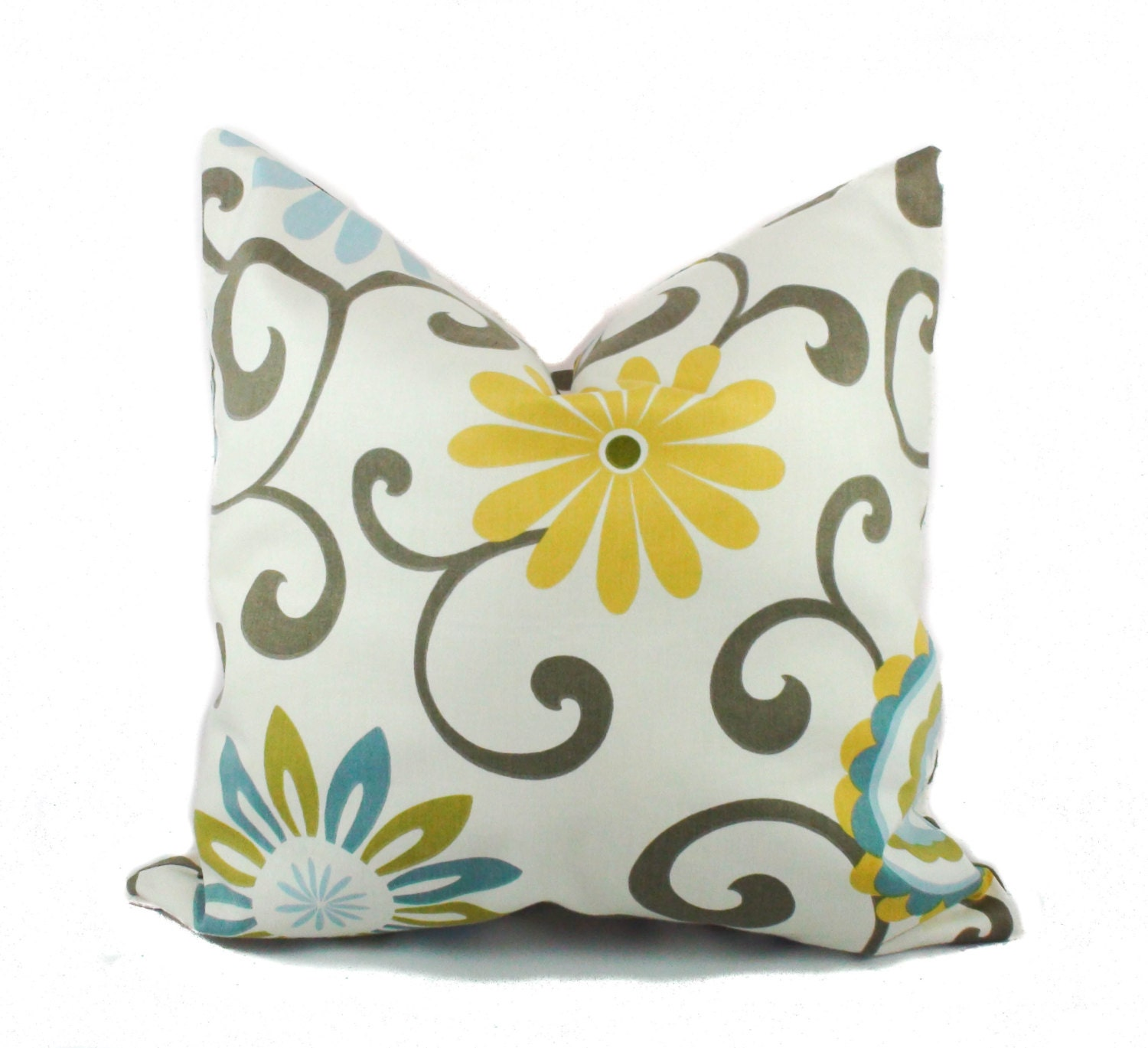 Yellow pillow covers Throw pillows Blue pillow Floral