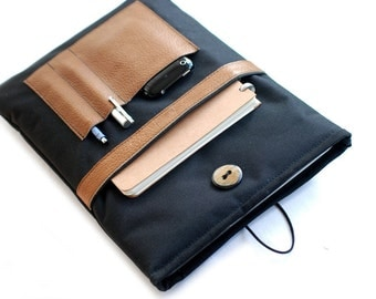 """Canvas Notebooktasche13 """"+ leather tray black"""