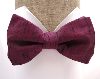 Silk bow tie, pre tied or self tie one size on an adjustable neck band